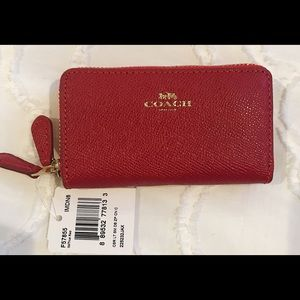 COACH signature small double zip coin purse